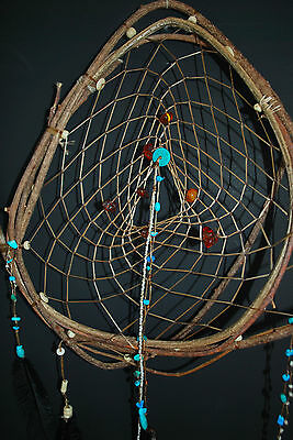 Dreamcatcher #1169 Amber and Turquoise -Native American Tribal Art