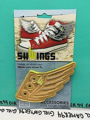 Shwings Gold Wings Accessory - Lace Up Your Shoes - New! Shoe Accessory !