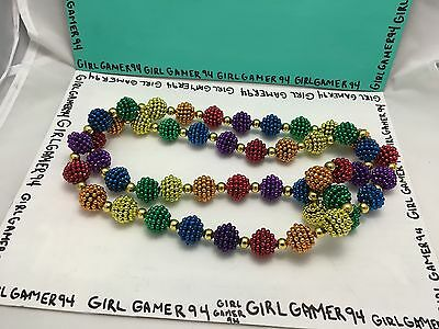 Large Colourful/Gay Pride Parade/Rainbow Mardi Gras Beads Medallion Necklace