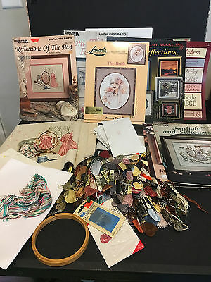 Large Cross Stitch Lot - Patterns, Thread, Books, Tools, Unfinished pieces
