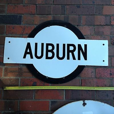 Railway Antique Porcelain Sign Auburn Station