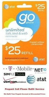 $25 AT&T Refill Reload Airtime GO Phone Card Prepaid Top Up ATT $10 $15 $50 $60