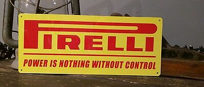Perelli high end tires power control vintage metal sign 5 x 12 50010
