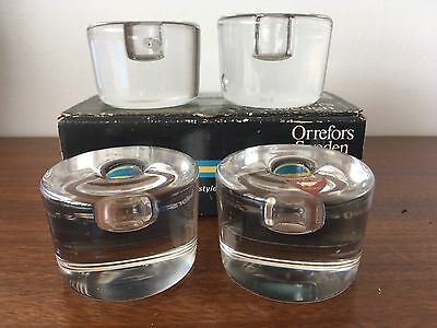 4 Orrefors glass candleholders, Sweden, small taper candles