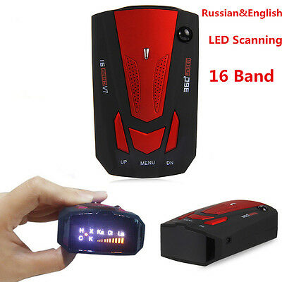 V7 Car Radar High Performance 16 Band 360° Laser Detector English Russian Voice