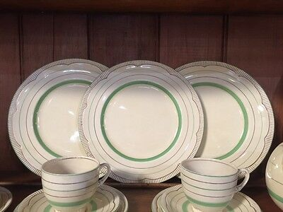 Clarice Cliff Ivory, Green and Gold Dinner Set, 35 pieces