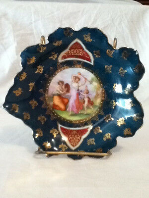 "Vintage Victoria Carlsbad Austria Small 6"" Portrait Plate / Dish Green Gilded"