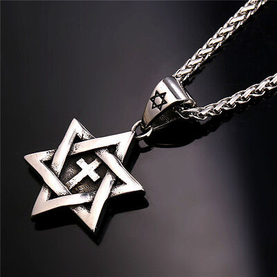 Star of David Cross Pendant & Necklace Chain christian Israel Jewish - Silver