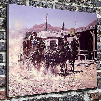 "12""x16"" Western stagecoach Painting HD Print on Canvas Home Decor Wall  Picture"