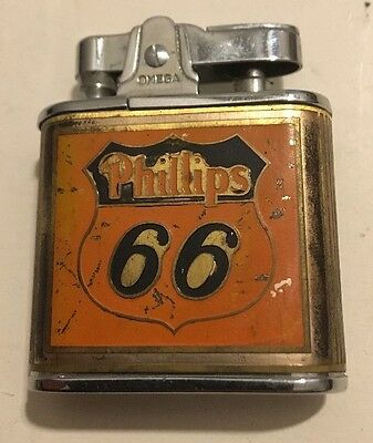 Rare Vtg Advertising Phillips 66 Omega Lighter Bob's Truck Stop Ottowa, Kansas