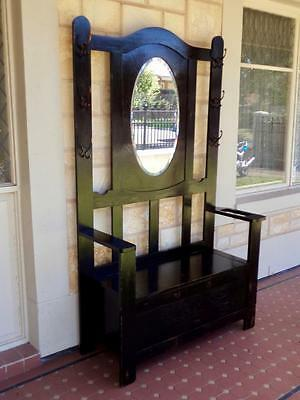 c.1920s Art Deco Solid Blackwood Heavy Entrance/Hall Stand Bevelled Edged Mirror