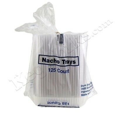 Plastic Serving Trays Clear Large Disposable Nacho 20 Oz 125 Two compartments