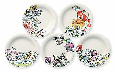 Disney Alice in Wonderland Flowers White Rabbit Plates Set of 5 Made in Japan