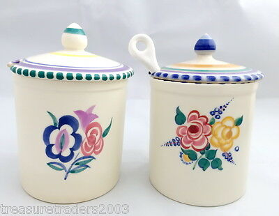 🌟 1930s + 1960s VINTAGE POOLE LIDDED SUGAR JAM HONEY MARMALADE HAND PAINTED POT