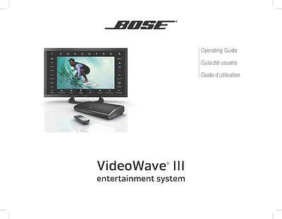 Bose VideoWave III Entertainment System Owners Manual User Guide Instructions