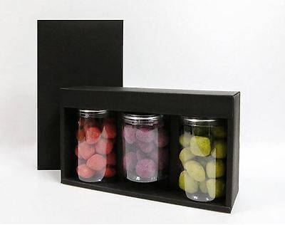 5 Black Paper 3 Pack Gift Boxes with Lids & Divider retail Jar Cans packaging