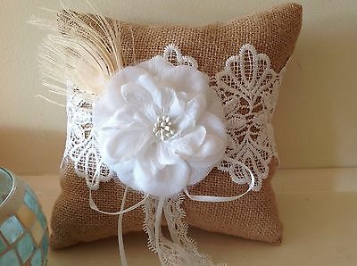NEW BURLAP HESSIAN VINTAGE WEDDING RING PILLOW Cushion Rustic Lace Page BEARER