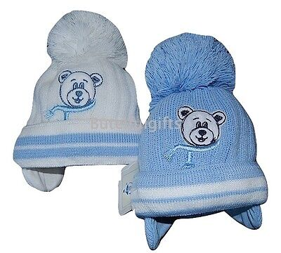 Baby Boys Teddy Cotton Lined Winter Pompom Hat 0-3 3-6 Month *1 Supplied*