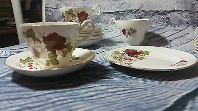 Trio Bone China Royal Ascot Cup, Saucer, Plate, Set of  3 Red White / Cream Rose