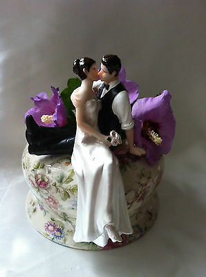 Personalised Wedding cake topper So Much In Love brunet bride and groom