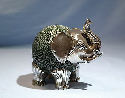 Lotus Arts de Vivre Asian Sterling Silver Shagreen Skin Thai Figure of Elephant