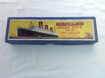Meccano Dinky Toys No 52  Empty Box For The Queen Mary