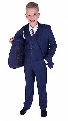 New Boys Formal Blue Suits Wedding PageBoy Party Prom 5 Piece Suit 2-12 Years