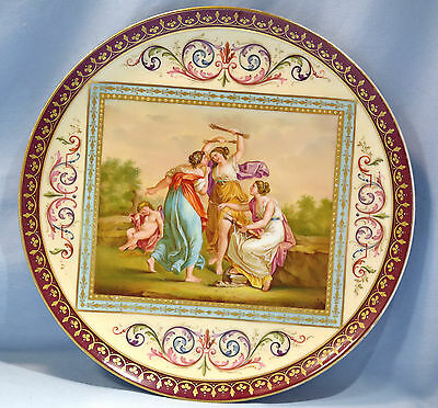 Royal Vienna Porcelain Charger 'Amor by the Graces Disarmed' Signed C. Weh.