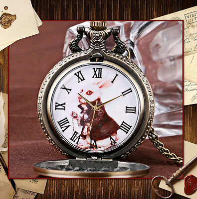ALICE IN WONDERLAND RABBIT PENDANT or pocket Watch FULL HUNTER Quartz  ADORABLE