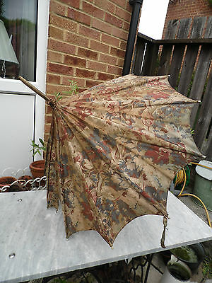 Victorian Silk ? PARAGON Parasol Bamboo with Carved Bovine Bone Finial Tips
