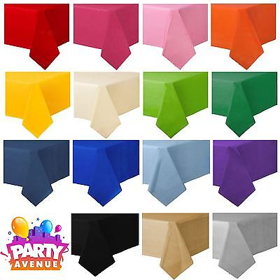 Rectangle & Round Plastic Disposable Paper Table Cloth Covers Birthday Party