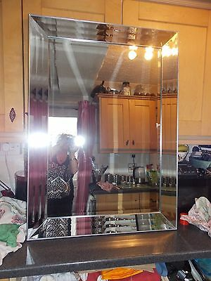 VintageLarge mirror all glass bevel glass frame and bevel glass 78x108cm