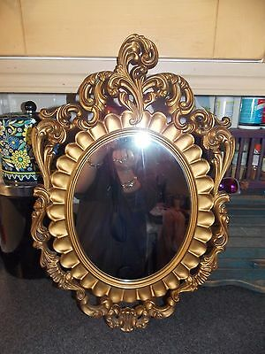 Vintage Mirror Gold ornate oval  55x33cm