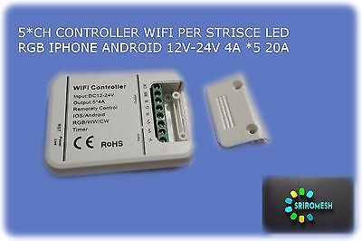 5*CH CONTROLLER WIFI PER STRISCE LED RGB IPHONE ANDROID 12V-24V 4A *5 20A smart