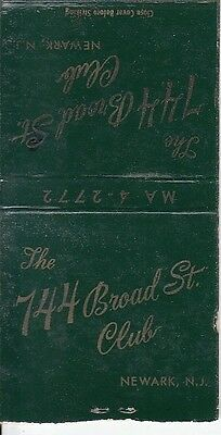 The 744 Broad St. Club Newark New Jersey NJ Old Matchcover