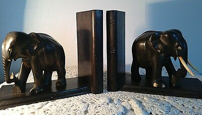 Vintage Teak Wood Elephant Bookends from India