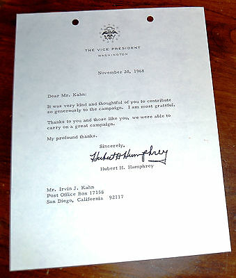 Hubert H. Humphrey -Vice-President of the United States - Signed Letter.