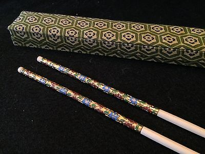 Ivory Like Cloisonne Chopsticks In A Multi Floral Design With A Fabric Box