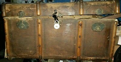 Antique 1800s Slightly Rounded Top Steamer Trunk Stage Coach Chest Coffee Table