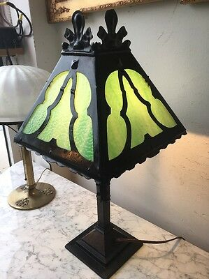 Antique Mission Arts And Crafts Slag Glass Table Lamp