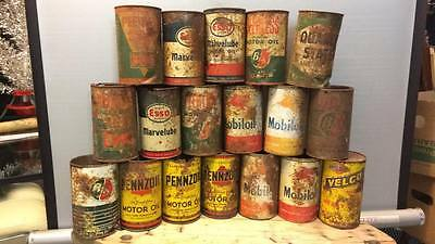 lot 18 can tin oil Peerless Motor Oil B/A, Esso, B-A, Quaker State, Pennzoil,