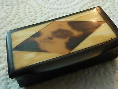Antique Horn Snuff box With inlaid lid