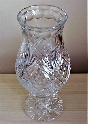 Beautiful Cut Crystal 2 Piece Hurricane Lamp/tea Light Holder - Diamonds / Fans