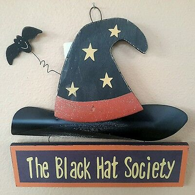 """Halloween 10""""T Black Witches Hat W/Bat & Plaque """"The Black Hat Society"""" Hanging"""