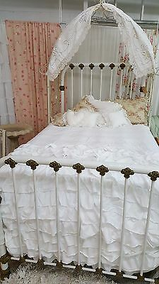 Antique Early 1900's French White 3/4 Quarters Iron bed ornate detail Complete