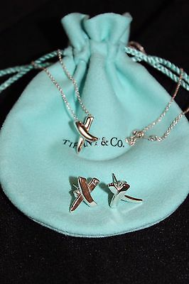 Authentic Tiffany & Co Paloma Picasso X Earrings Necklace Set