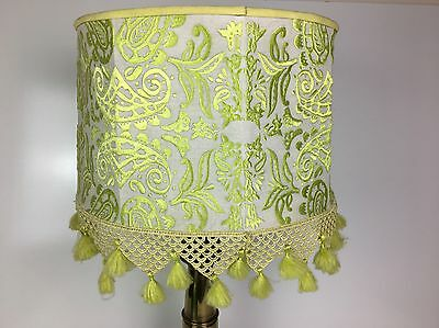 Anthropologie Home Bohemian Funky Green Embroidered Damask Lamp Shade w/ Fringe