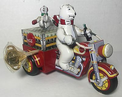 Coca-Cola Motorcycle  With Polar Bears Tin Wind Up Toy Motortrike No Box