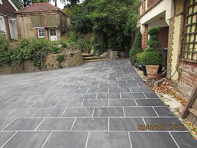 Natural  Black Slate Paving Garden Patio Slabs drive 5m2 600x400mm  25mm Thick