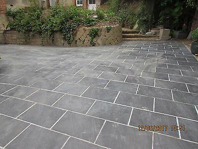 Natural  Black Slate Paving Garden Drive Patio Slabs 10m2 600x400mm 25mm Thick
